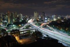 Sao Paulo city at night, Brazil Stock Images