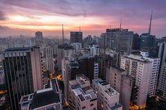 Sao Paulo City at Night. Night Time View of Sao Paulo City in Brazil royalty free stock photos