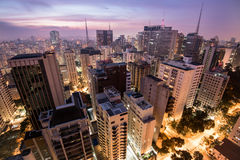 Sao Paulo City at Night. Night Time View of Sao Paulo City in Brazil royalty free stock photo