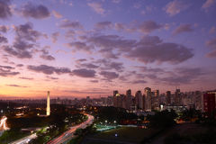 Sao Paulo city at nightfall, Brazil Stock Image