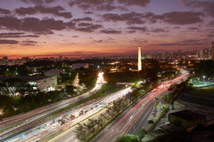 Sao Paulo city at nightfall, Brazil Stock Photos