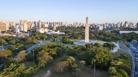 Free Sao Paulo City,  Obelisk Monument And Ibirapuera Park Royalty Free Stock Images - 203828449