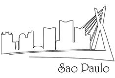 Sao Paulo city one line drawing abstract background. Abstract background with  metropolis cityscape Stock Images