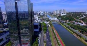 Modern architecture. Modern building in the world. Aerial view of Avenida Marginal Pinheiros. Santander Bank building. JK Building stock video footage