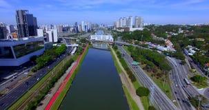 Modern architecture. Modern building in the world. Aerial view of Avenida Marginal Pinheiros. Santander Bank building. JK Building stock footage