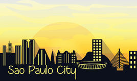 Sao Paulo City Silhouette. On sunrise. Vector Royalty Free Stock Photos