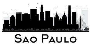 Sao Paulo City skyline black and white silhouette. Vector illustration. Simple flat concept for tourism presentation, banner, placard or web site. Business Stock Photography