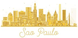 Sao Paulo City skyline golden silhouette. Vector illustration. Cityscape with landmarks Royalty Free Stock Images