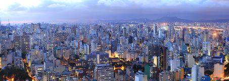 Sao Paulo cityscape. Aerial view of Sao Paulo in the night  time Stock Photos