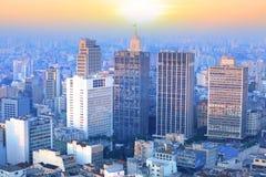 Sao Paulo cityscape. Downtown Sao paulo with evening sun light Royalty Free Stock Photos