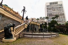 Sao Paulo downtown - Municipal Theater royalty free stock image