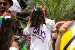 Sao Paulo, el Brasil - octubre, 20 2017 nown como Peruada, es la fiesta en la calle tradicional organizada por el colegio de abog Fotografía de archivo libre de regalías