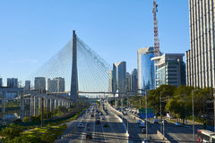 Sao Paulo Estaiada Bridge Brazil arkivbilder