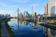 Sao Paulo Estaiada Bridge Brazil. Sao Paulo Brazil Octavio Frias de Oliveira Bridge - Estaiada Bridge Royalty Free Stock Photography