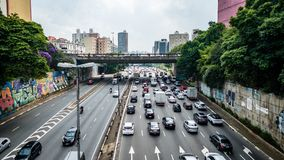 Sao Paulo Highway Traffic Brazil Royaltyfri Fotografi