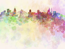 Sao Paulo horisont i vattenfärgbakgrund Royaltyfria Bilder