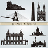 Sao Paulo landmarks and monuments. Isolated on blue background in editable vector file Stock Images