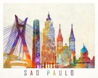 Sao Paulo landmarks. Watercolor poster Royalty Free Stock Photography