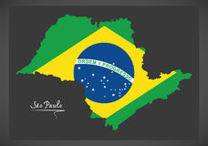 Sao Paulo map with Brazilian national flag illustration. In artwork style Stock Photo