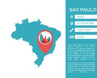 Sao Paulo map infographic vector isolated illustration. Sao Paulo map shape vector infographics template. Modern city data statistic isolated illustration Royalty Free Stock Photos