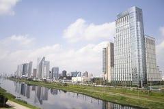 Sao Paulo - Marginal Pinheiros. Modern buildings mirrored in Pinheiros River, Sao Paulo, Brasil Stock Photos