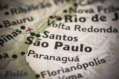 Sao Paulo na mapie Fotografia Royalty Free