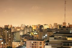 Sao Paulo at night. Skyline of Higienopolis, Sao Paulo, Brazil Stock Photo
