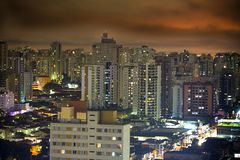Sao Paulo at night. Nightime scene in the city of Sao Paulo Stock Images