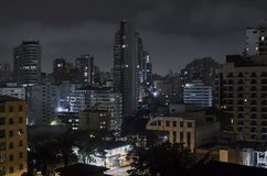 Sao Paulo at night. Buildings of Sao Paulo city at a cloudy night. Urban photo of the city during night royalty free stock images