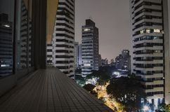 Sao Paulo at night. Buildings of Sao Paulo city at a cloudy night. Urban photo of the city during night stock images