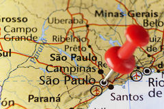 Sao Paulo pinned map, Brazil. Copy space available royalty free stock photography
