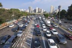 Sao Paulo popołudniowa godzina szczytu dojeżdżać do pracy Obraz Stock