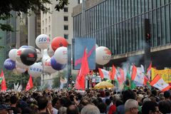 Sao Paulo/Sao Paulo/Brazil - may 15 2019 popular political manifestation against lack of budget on education affecting. Sao Paulo/Sao Paulo/Brazil - may 15 2019 stock photography