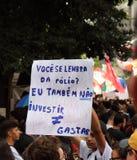 Sao Paulo/Sao Paulo/Brazil - may 15 2019 popular political manifestation against lack of budget on education affecting. Sao Paulo/Sao Paulo/Brazil - may 15 2019 stock image