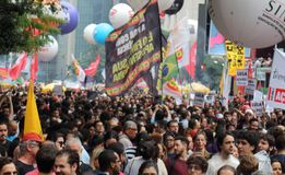 Sao Paulo/Sao Paulo/Brazil - may 15 2019 popular political manifestation against lack of budget on education affecting. Sao Paulo/Sao Paulo/Brazil - may 15 2019 royalty free stock images