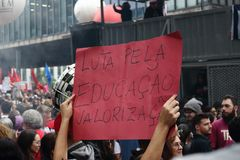Sao Paulo/Sao Paulo/Brazil - may 15 2019 popular political manifestation against lack of budget on education affecting. Sao Paulo/Sao Paulo/Brazil - may 15 2019 royalty free stock photo