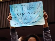 Sao Paulo/Sao Paulo/Brazil - may 15 2019 popular political manifestation against lack of budget on education affecting. Sao Paulo/Sao Paulo/Brazil - may 15 2019 royalty free stock photography