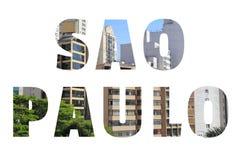 Sao Paulo city. Sao Paulo sign - city name with background travel postcard photo stock photos