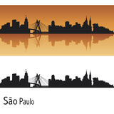 Sao Paulo skyline. In orange background in editable vector file Stock Photos
