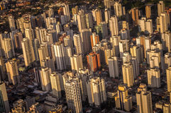 Sao Paulo skyline. Aerial view of Sao Paulo skyline near airport Royalty Free Stock Images