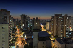 Sao Paulo Skyline Cityscape From Above la nuit Images stock
