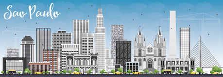 Sao Paulo Skyline with Gray Buildings and Blue Sky. Vector Illustration. Business Travel and Tourism Concept with Modern Buildings. Image for Presentation Royalty Free Stock Image