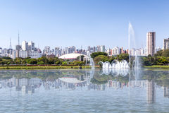 Sao Paulo Skyline from Ibirapuera Park in Sao Paulo, Brazil Royalty Free Stock Photos