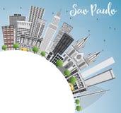 Sao Paulo Skyline met Gray Buildings, Blauwe Hemel en Exemplaarruimte Stock Fotografie