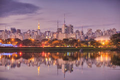 Sao Paulo skyline from Parque Ibirapuera park. In Brazil Royalty Free Stock Photography
