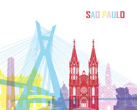 Sao Paulo skyline pop. In editable vector file Royalty Free Stock Images