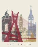 Sao Paulo skyline poster. In editable vector file Stock Image