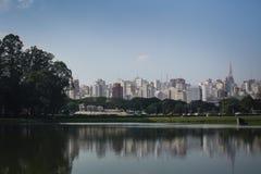 Sao Paulo skyline reflection. The skyline of Sao Paulo Brazil reflected in a lake Stock Photos