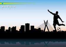 Sao Paulo skyline with soccer player. Vector illustration of Sao Paulo with soccer player Stock Image