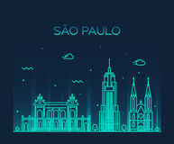 Sao Paulo skyline trendy vector linear style Stock Images